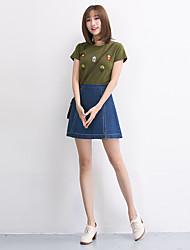 neue Korea Korean wilde feste Farbe hohe Taille Denim Rock Röcke geschnitten, um ein Wort Rock weiblichen Studenten Rock