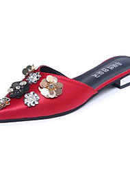 Women's Sandals Summer Comfort PU Casual Flat Heel Beading Black Gray Red Green Walking