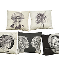 Set of 5 Simple retro abstract pattern  Linen Pillow Case Bedroom Euro Pillow Covers 18x18 inches  Cushion cover
