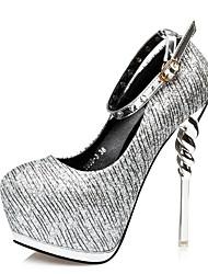 Mujer-Tacón Stiletto-Zapatos del club-Tacones-Vestido-Semicuero-Negro Plata Oro