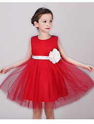 BONJEAN Ball Gown Knee-length Flower Girl Dress - Chiffon Organza Jewel with Flower(s) Sash / Ribbon