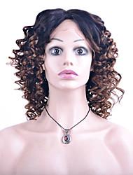 Nuovo frontale del merletto di modo parrucche dei capelli umani sciolti onda due toni ombre T1b / marrone colore vergine peruviana