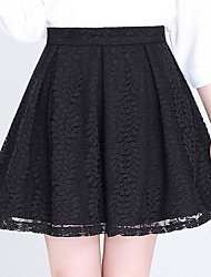 Women's Lace Plus Size Swing Solid Lace Pleated Cut Out Skirts,Going out Casual/Daily Sexy Cute High Rise Above Knee Zipper Polyester Micro-elastic