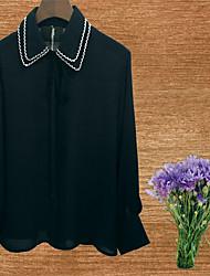 7 лук кружева воротник с длинными рукавами рубашки шифон женская весна свободная тонкая корейская версия новой белой рубашке