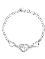 Women's Charm Bracelet Crystal Zircon Cubic Zirconia Silver Plated Fashion Heart Silver Jewelry 1pc