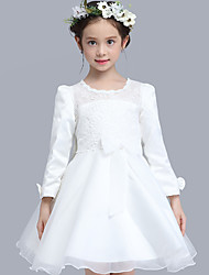 Ball Gown Knee-length Flower Girl Dress - Cotton Organza Satin 3/4 Length Sleeve Jewel with Bow(s) Lace