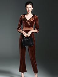 Для женщин На каждый день лето Пружинный Рубашка Брюки Костюмы Глубокий V-образный вырез,просто Однотонный Рукав ¾,Полиэстер