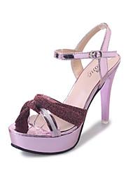 Sandalen-Kleid Lässig-Stoff-Stöckelabsatz-Komfort-Rosa Gold Silber