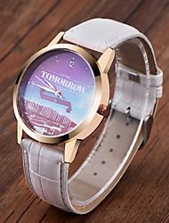 Модные часы Кварцевый Натуральная кожа Группа С подвесками Повседневная Часы с текстом Черный Белый Коричневый