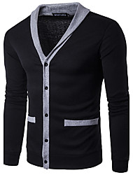 Herren Standard Strickjacke-Lässig/Alltäglich Einfach Solide Rot Schwarz Grau V-Ausschnitt Langarm Baumwolle Polyester Frühling Herbst