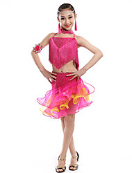 Latin Dance Outfits Children's Performance Milk Fiber Crystals/Rhinestones Tassel(s) Splicing 2 Pieces Sleeveless Natural Top Skirt Dance Costume