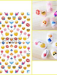 1pcs Nail Art Sticker 3D Nail Stickers Lovely Cartoon QQ Expreession Love Heart Balloon Diamond Lips Design Nail Beauty Tips F060