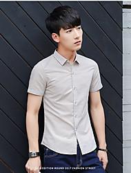 новая тенденция мужчин&# 39, S рубашка с короткими рукавами тонкий сплошной цвет короткий рукав рубашки мужчин вскользь рубашки