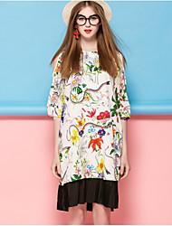 Courte Robe Femme Sortie Mignon,Fleur Col Arrondi Au dessus du genou ½ Manches Blanc Noir Soie Printemps Eté Taille Normale