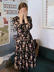 novos modelos Hanguo chun impressão retro vestido assentamento cintas cinto de mangas compridas