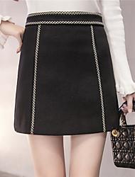 Winter neue koreanische Frauen Wolle ein Wort Rock bestickt Taille Kette Normallack dünner Rock Woll