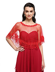 Women's Wrap Capelets Lace Tulle Wedding Party/Evening Flower(s) Tassels