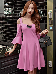 Women's Off Shoulder/Flare Sleeve Going out Casual/Daily Party Sexy Cute A Line Sheath Skater DressSolid Bow Ruffle Pleated Strap Above Knee