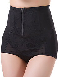 Women's Sexy Solid Slimming High Waist Body Tummy Control Shaping Panties Nylon Spandex Female Underwear Beige/Black