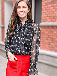 KANF Going out Work Cute Spring Summer BlouseFloral Stand Long Sleeve Black Polyester