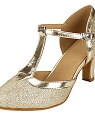 Customizable Women's Dance Shoes Sparkling Glitter Salsa Sandals Heels Customized Heel Performance Gold