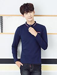 hombres&# 39; s nuevo invierno de manga larga de algodón hombres de la camiseta&# 39; s del color sólido de la solapa de puntos de