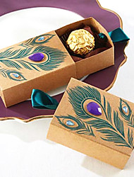 50pcs/lots Kraft Paper Beautiful Peacock Feathers And Diamond Candy Boxes Gift Box Wedding Box Wedding Decorations Party Favors Gifts