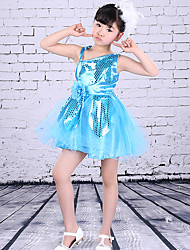 Ballet Dresses Children's Performance Polyester Appliques Sequins Splicing 1 Piece Sleeveless High Dress