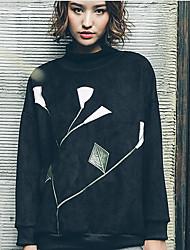 Sweatshirt Femme Sortie Décontracté / Quotidien simple Mignon Imprimé Brodée Col Roulé non élastique Polyester Manches longuesPrintemps
