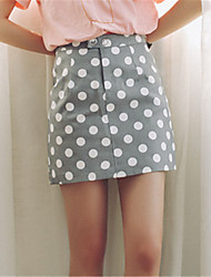 Model real shot 2017 spring new wave point button waist A-line skirts
