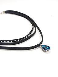 Women's Choker Necklaces Gemstone Glass Nylon Drop Jewelry Heart Fashion Personalized Euramerican Punk Black Dark Blue JewelryDaily