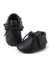Bebê-Rasos-Primeiros Passos Sapatos de BerçoPreto Branco Cinza-Courino-Casual