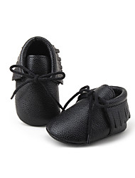 Kids' Baby Flats First Walkers Crib Shoes Leatherette Spring Fall Casual First Walkers Crib Shoes Tassel White Black Gray Flat