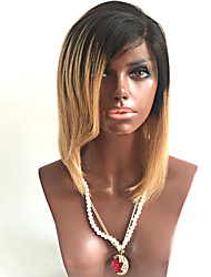 Two Tone Ombre T1B/27# Lace Front Human Hair Wigs With Side Bang 100% Malaysian Virgin Hair Lace Front Wigs Silky Straight Hair
