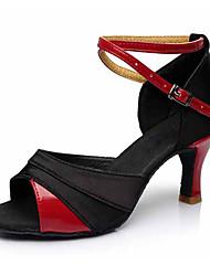 Personnalisables Femme Latines Similicuir Tissu Sandales Talons Spectacle Boucle Talon Cubain Noir et Or Preto e Prateado Noir/Rouge5,1 à