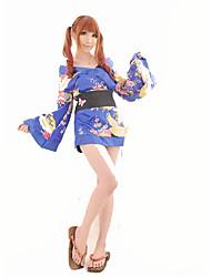 Costumes de Cosplay Tenus de Servante Fête / Célébration Déguisement d'Halloween Jaune Bleu Couleur Pleine Carnaval Féminin Satin