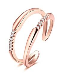 Ringe Alltag Normal Schmuck Zirkon Kupfer versilbert Rose Gold überzogen Ring 1 Stück,Verstellbar Silber Rotgold