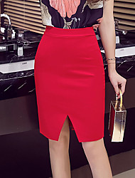 Plus Size A Line Solid Skirts,Going out Casual/Daily Simple High Rise Mini Zipper Polyester Inelastic All Seasons