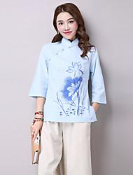 этнический китайский стиль ручная роспись китайский костюм лето сплошной цвет хлопка улучшение сорочка втулки