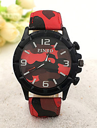 Men's Fashion Watch Quartz Rubber Band Black Blue Red