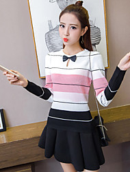 Women's Casual/Daily Cute Spring Fall T-shirt,Striped Rainbow Round Neck Long Sleeve Blue Pink Red Gray Green Yellow Cotton Medium