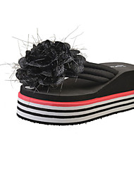Women's Slippers & Flip-Flops Comfort PU Spring Summer Casual Dress Comfort Flower Flat Heel White Black Ruby Flat