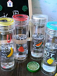 Cartoon To-Go Drinkware 350 ml Filterable Heat-Insulated Double Wall Glass Tea Juice Glass 1pcs