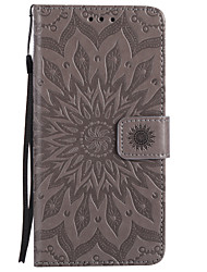 For iPhone 7 Plus 7 PU Leather Material Sun Flower Pattern Embossed Phone Case 6s Plus 6 Plus 6S 6 SE 5s 5