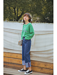 LEMON Sign -2017 spring new lady student school students fresh dark denim trousers nine points