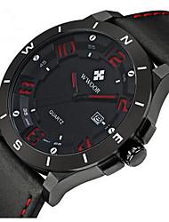 Herren Modeuhr Armbanduhr Quartz Leder Band Bequem Schwarz Braun Schwarz/Braun Schwarz/Rot Schwarz/Blau Schwarz/Silber
