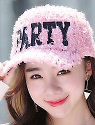 femmes sequin impression alphabet en peluche casquette de baseball de cheveux coton chaud chapeau décontracté