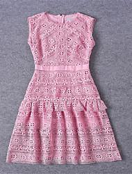 Damen A-Linie Kleid-Ausgehen Lässig/Alltäglich Urlaub Sexy Einfach Niedlich Solide Rundhalsausschnitt Knielang Ärmellos Rosa Andere