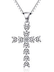 Pendants Crystal Sterling Silver Zircon Cubic Zirconia Simulated Diamond Cross Cross Silver Jewelry Daily Casual 1pc