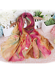 Women Fashion Chiffon Scarf Cute Party Casual Rectangle Pink Orange Rainbow Thin Summer